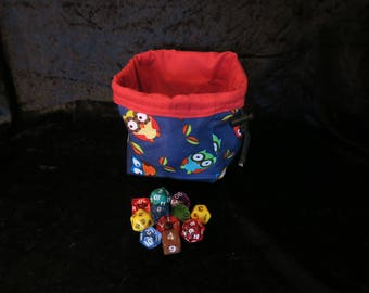 Square Dice Bag - Navy Blue Owls - Red Lined - Tile Pouch - Freestanding - Cotton - Reversible - Drawstring - Handmade - Gift - Storage