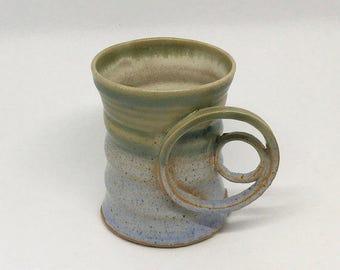 Green and Light blue Stoneware mug with ring shaped handles, tea mug