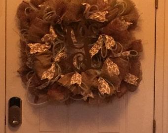 Monogram Transitional Poly Burlap Wreath