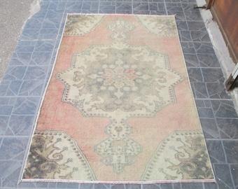 Free Shipping Oushak Rug Vintage Hand Woven Turkish Rug Turkish Rug Rug Vintage turkish rug kilim Rug  5.5 x 3.3  feet e:.432