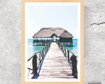 Bungalow Print, Beach Poster, Coastal Photo, Beach Vacations, Beach Holidays, Paradise Beach, Zen Poster, Clarity Print, Printable Download