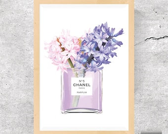Poster Chanel, Fashion Print, Perfume Bottle Poster, Perfume Print, Chanel No 5 Print, Digital Art Print, Poster Download, Instant Download