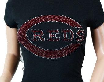 Cincinnati Reds Jersey Rhinestone Bling T-shirt