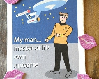 Star Trek Retro Birthday Card, Captain Kirk Birthday Card, Starship Enterprise Card, Birthday Card