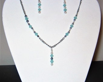Synthetic Pearl and Swarovski Crystal Necklace and Earring Set