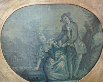 """Original 18th Century French BLUE GRISAILLE Painting. Oil on Canvas Board. 25"""" x 20""""."""