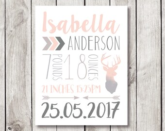 Birth Announcement, Birth Stats, Nursery Print, Birth Stats Print, Baby Gift, Baby Name Wall Art, New Baby Gift, Customized Baby Gift