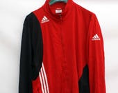 Vintage 80s ADIDAS Classic Retro Style Red Jogger Track tracksuit zip up soft shell JACKET. Size XL. Real Authentic Genuine Adidas