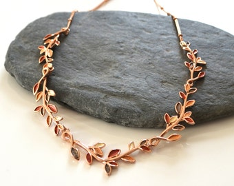 Rose Gold Leaves Necklace
