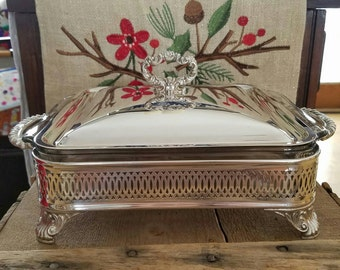 Silver Serving Buffet with Glass Tray and Lid