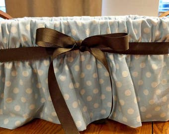 Fabric covered GIFT BASKET Baby shower or diaper tote Avail in many different designs.