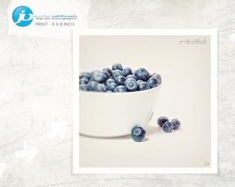 "Food Fine Art Photo, Food Wall Art, Kitchen Decor, Food Photography, Modern Food Photo, Minimal Food Photo - ""Blueberries in a bowl No. 6"""