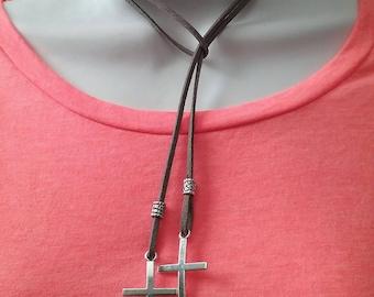 Silver Cross Choker Necklace, Cross Choker, Cord Wrap Choker, Layered Wrap Choker, Bolo tie choker, Thin Choker Suede, Wrap Lariat Choker,