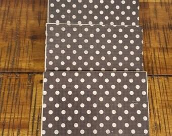 Set of 4 travertine tile coasters Polka dot design