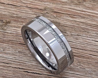 Meteorite Ring, Tungsten Carbide Men's Wedding Band, 8mm comfort fit ring