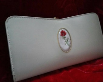 Vintage Amity ivory  leather with embroidery wallet