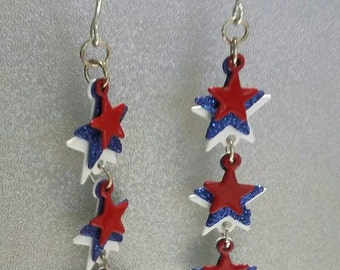 Vintage patriotic stars red white and blue pierced