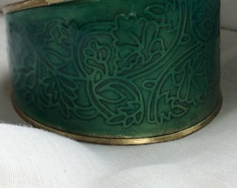 Brass? and Teal Enamaled Cuff Bracelet