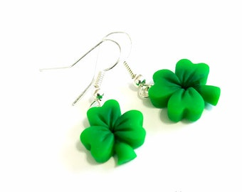 Shamrock Earrings, St Patty Jewelry, Polymer Clay Jewelry, Clover, Green French Hook Earrings, Charms