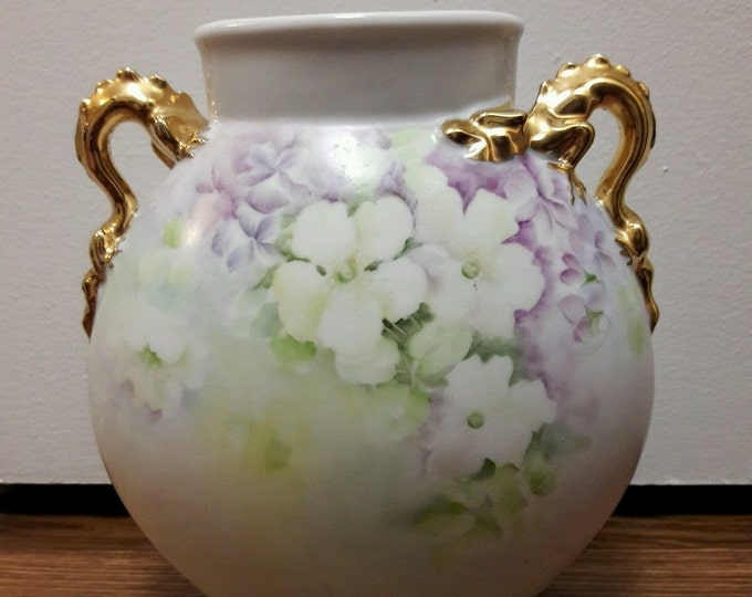 Gorgeous Antique Giraud Limoges Dragon Handled Vase