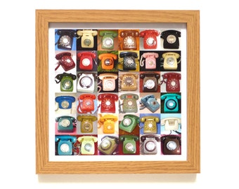 Vintage Telephones   Phone Art Print   Framed Print   Collections Picture   Square Photographic Print   Retro Phone    Nostalgia Collectable