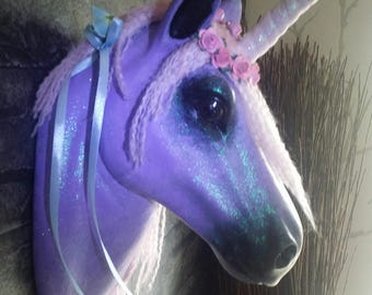 ooak customised handpainted  unicorn head wall mount fairytale girls bedroom or gift for horsey lovers faux taxidermy  sculpture art