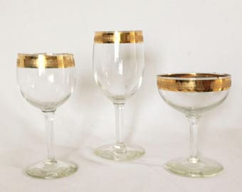 16 Vintage Wine and Champagne Gold Rimmed Glasses