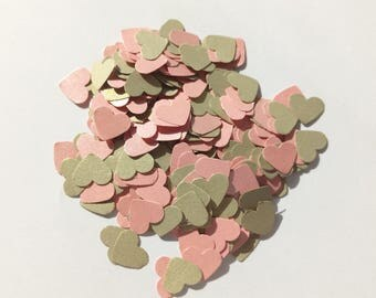 Handmade heart table confetti in pink and gold