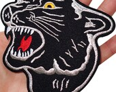 Big Black Panther Head Embroidered Iron  Sew On Patch Shirt Jacket Large Badge