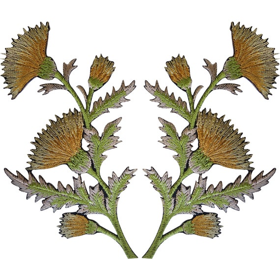Pair of Gold Thistle Flower Patches Iron Sew On Embroidered Patch Badge Flowers