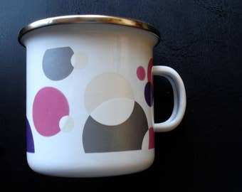 Vintage White with Pink and Grey Dots Enamel Mug /Silver Rim enamel Mug/Farm House Kitchen/ Farmhouse Decor /Unused