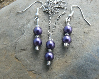 Purple pearl earrings and necklace
