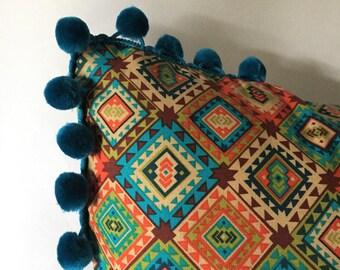 Southwestern style Pillow w/ Turquoise Pom