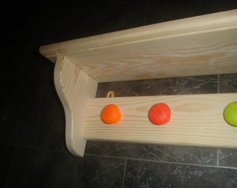 Childrens wooden coat and bag rack with book shelf solid pine 6 coat knobs
