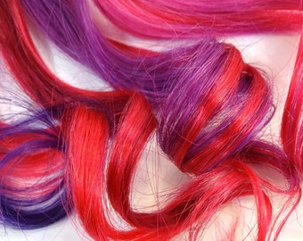 "Set of FOUR 18"" Clip-In Human Hair Streaks, Very Berry"