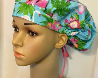 Tropical Paradise! Women's Surgical Scrub Hat, Bouffant Style