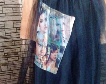 Amazing  black tulle skirt with inlay