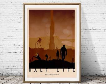 Half Life Welcome To City 17 Propaganda Minimalist Artwork Alternative Gaming Game Print Poster Art Deco