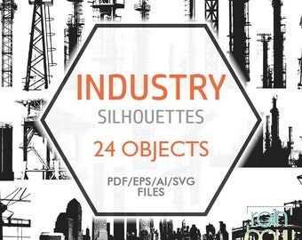 Industrial Silhouettes, Industry Clipart, Megalopolis, Crane Svg, Manufactory, Industrial Factory Digital Clip Art, Industrial Plant, EPS
