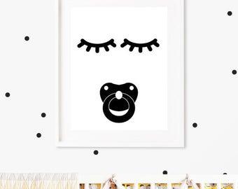 Closed Eyes Kids Decor, Pacifier, Sleepy Eyes, Nursery Print, Nursery Sleep Print,  Sleepy Eyelashes Print,  Sweet Dreams