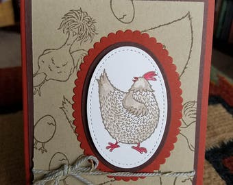 4 Handmade Have a Happy Day Chicken Cards and Envelopes