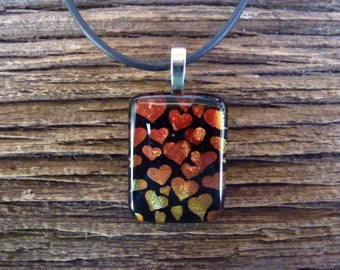 Fused glass pendant  - fused glass jewellery - fused glass necklace - Fused Glass made in UK - Dichroic Jewellery - Black Red Orange Yellow