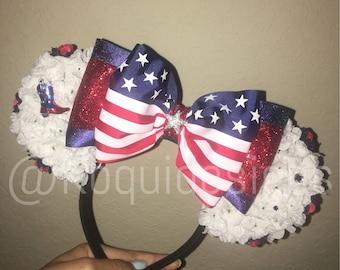 USA Minnie Ears, USA Mickey Ears, America Minnie Ears, America Mickey Ears, Mickey Ears, Minnie Ears, 4th of July, Independence Day