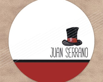 Personalized Gift Enclosure Cards & Custom Kids Gift Tags  |  Top Hat  |  D-GT5.007