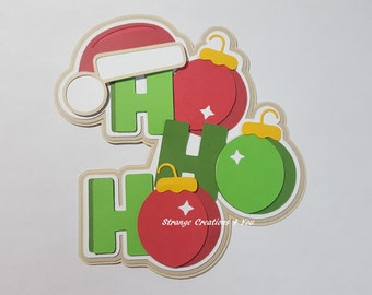 Ho Ho Ho Title, Die cut, Paper Piecing for scrapbooking