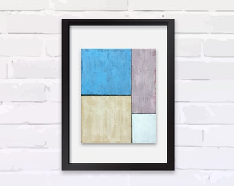 """Original Mid-century Modern Painting, COMPOSITION #7, Acrylic on Canvas, 8""""x10,"""" Abstract Expressionist"""