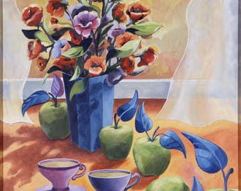 Still life flowers on canvas Giclee print