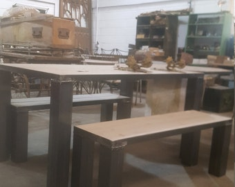 Industrial table and benches