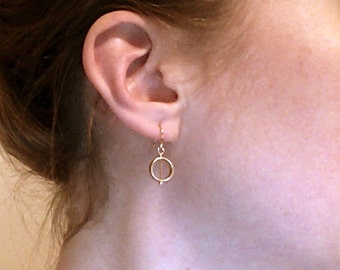 Circle Drop Earrings - Gold or Silver