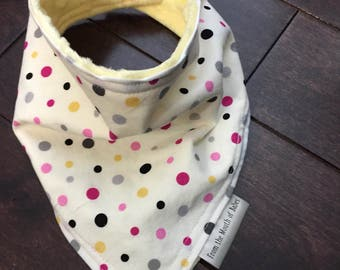 Baby Bandana Bib - Pink, Grey & Yellow dots